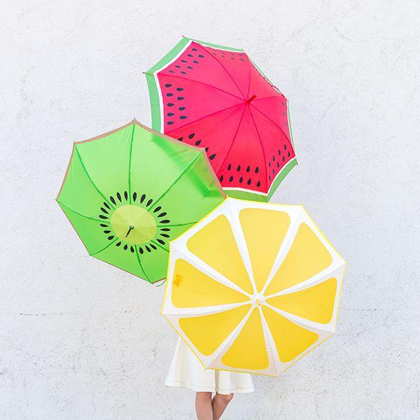 DIY Watermelon, Kiwi and Lemon Fruit Slice Umbrellas