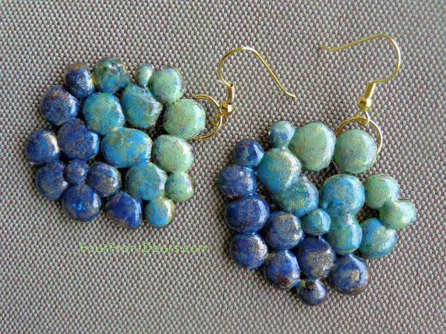 Make cute earrings from hot glue drops