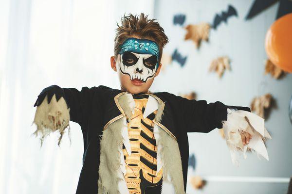 child dressed like a zombie