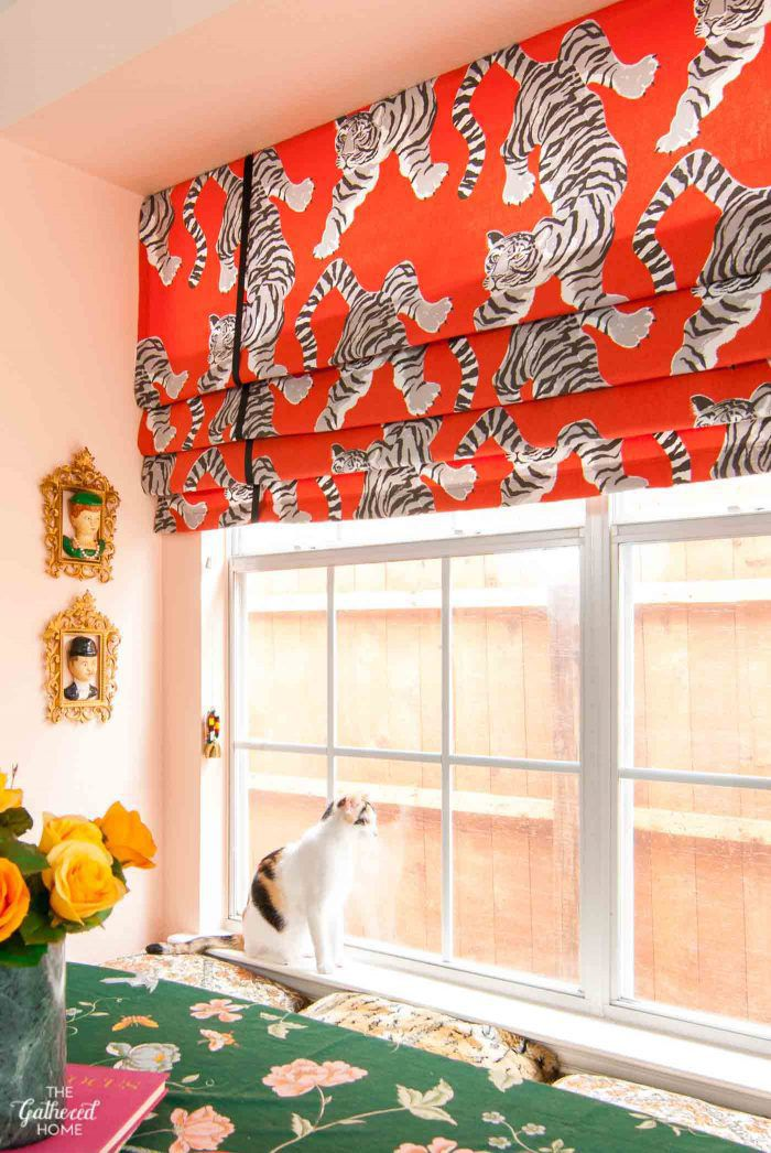 red orange roman shades with tigers on them