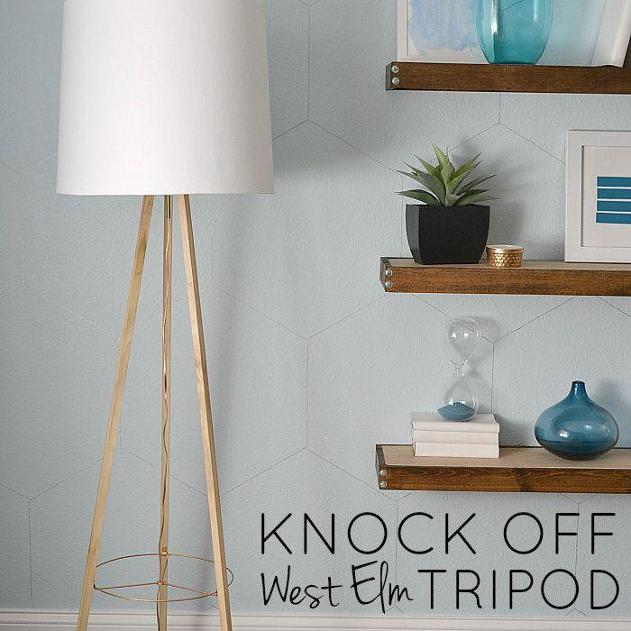 DIY Knock Off West Elm Tripod Floor Lamp